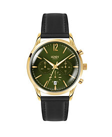 Henry London Chiswick Gents 41mm Black Leather Strap Watch with Gold Stainless Steel Casing
