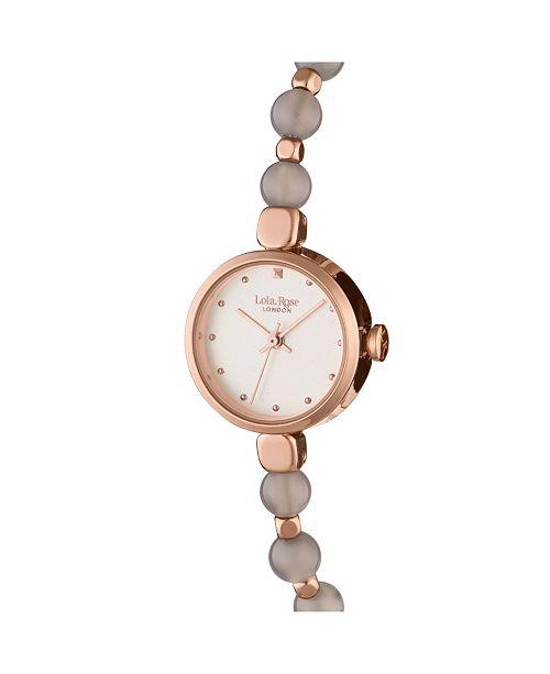 "Lola Rose ""Prosperity"", Ladies, Genuine Grey Agate Beaded Friendship Bracelet, 22MM"