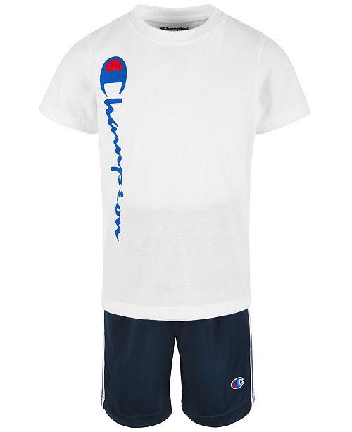 Champion Heritage 2 Pc Logo Print T Shirt Shorts Set Little Boys