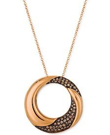 "Le Vian Chocolatier® Diamond 18"" Pendant Necklace (3/8 ct. t.w.) in 14k Rose Gold"