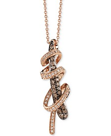 "Le Vian Chocolatier® Chocolate™ & Vanilla™ Diamond Swirl Wrap 18"" Pendant Necklace (3/4 ct. t.w.) in 14k Rose Gold"