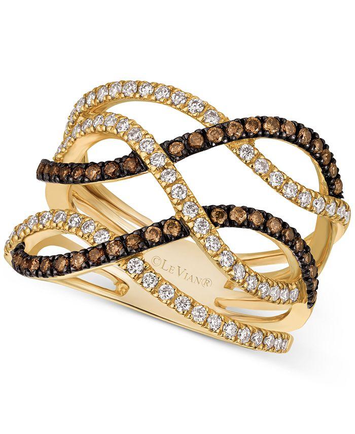 Le Vian - Chocolate Diamond (1/3 ct. t.w.) & Vanilla Diamond (3/8 ct. t.w.) Statement Ring in 14k Gold