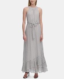 Calvin Klein Printed Halter-Neck Ruffle-Hem Dress