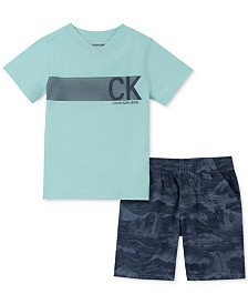 Calvin Klein Toddler Boys 2-Pc. V-Neck Logo T-Shirt & Tropical-Print Poplin Shorts Set