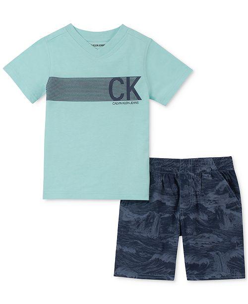 8dfbaa09f Calvin Klein Toddler Boys 2-Pc. V-Neck Logo T-Shirt & Tropical-Print ...