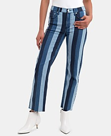 Heather High-Waisted Vertical-Stripe Jeans