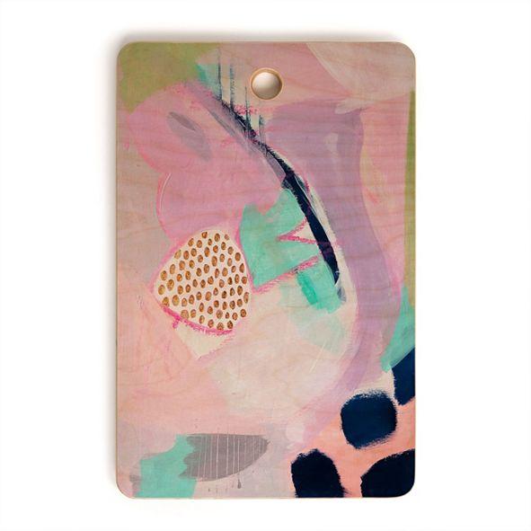 Deny Designs Blush Leopard Rectangle Cutting Board
