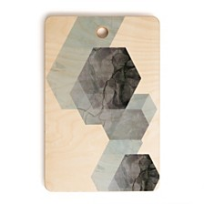 Deny Designs Neutral Marble Geometry Rectangle Cutting Board