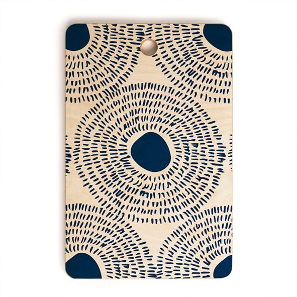 Deny Designs Circles In Blue II Rectangle Cutting Board