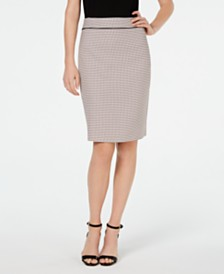 Kasper Dot-Print Pencil Skirt