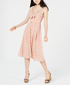 City Studios Juniors' Tie-Front Cutout Midi Dress