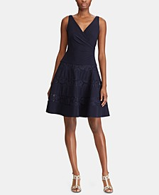 Lace-Trim Ruched Dress