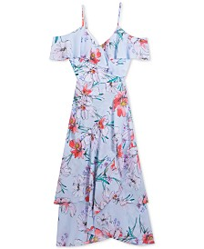 Rare Editions Big Girls Plus-Size Floral-Print Wrap Dress