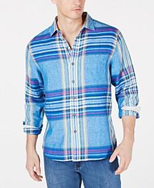 Men's Pecona Classic Fit Plaid Linen Shirt
