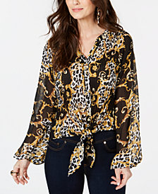 Thalia Sodi Animal Print Pleated Tie-Front Printed Blouse, Created for Macy's