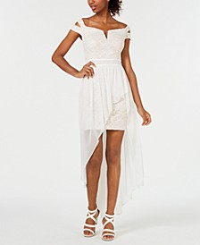 Juniors' Off-The-Shoulder Asymmetrical Gown