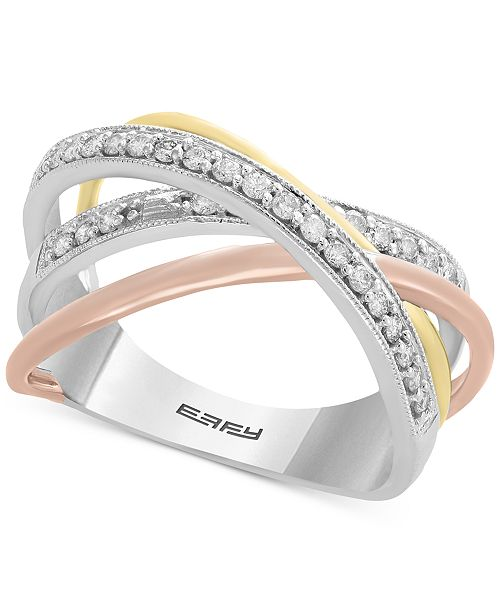 EFFY Collection EFFY® Diamond Statement Ring (1/4 ct. t.w.) in 14k Gold, 14 White Gold & 14k Rose Gold