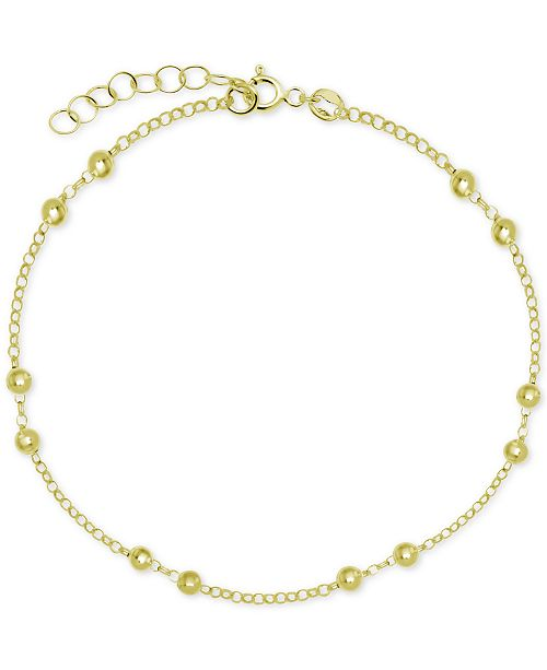 Macy's Polished Bead Ankle Bracelet in Sterling Silver