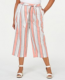Plus Size Striped Pull-On Capris, Created for Macy's