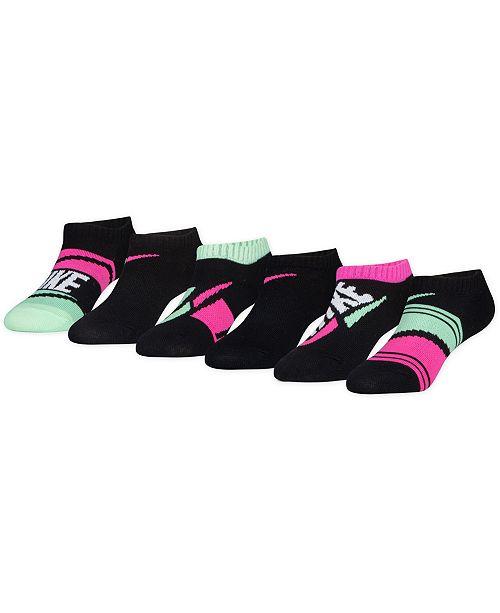 Jordan Nike Little Girls 6-Pack No-Show Athletic Socks