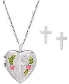 """Cross Locket 18"""" Pendant Necklace & Cross Stud Earrings Set in Sterling Silver"""
