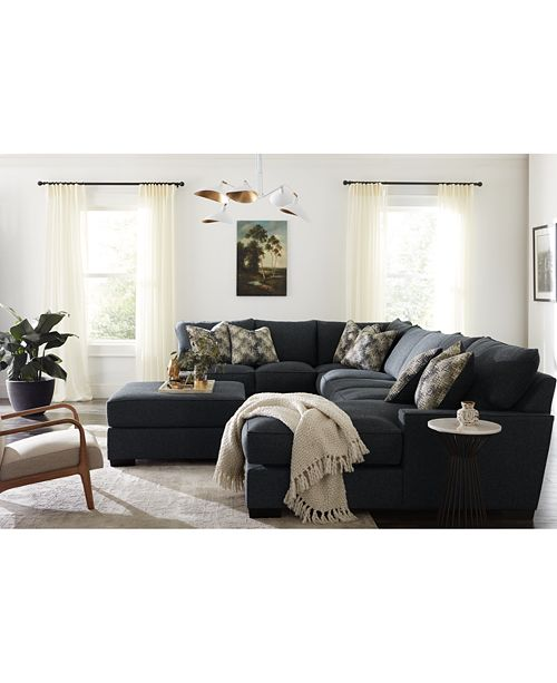 Furniture Tuni 3 Pc Fabric Chaise Sectional Sofa With 2