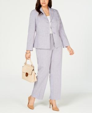 Le Suit Plus Three-Button Striped Pantsuit
