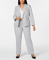 94c81d1261f Le Suit Plus Size Mini-Herringbone Pantsuit