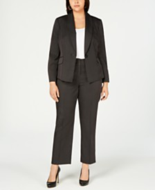 Le Suit Plus Size One-Button Mini Pinstriped Pantsuit