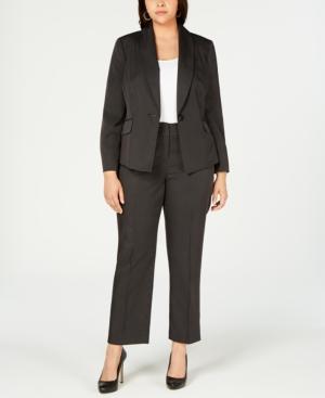 Le Suit Plus One-Button Mini Pinstriped Pantsuit