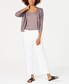 Eileen Fisher Scoop-Neck Sleeveless Top, 3/4-Sleeve Organic Linen Cardigan & Organic Linen Cropped Pants