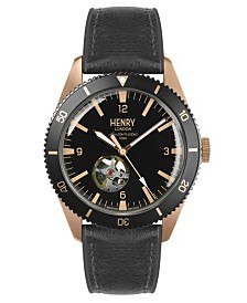 Henry London Sports Automatic Rose Gold Case Black Automatic Dial Brown Silicone Strap