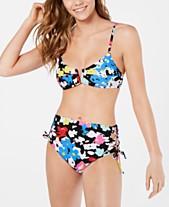 4ed3b65595 Hula Honey Juniors' Morning Glory Printed V-Wire Bikini Top & High-Waist