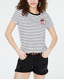 Love Tribe Juniors' Striped Minnie Mouse T-Shirt