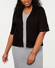 Plus Size Pointelle-Knit Cardigan