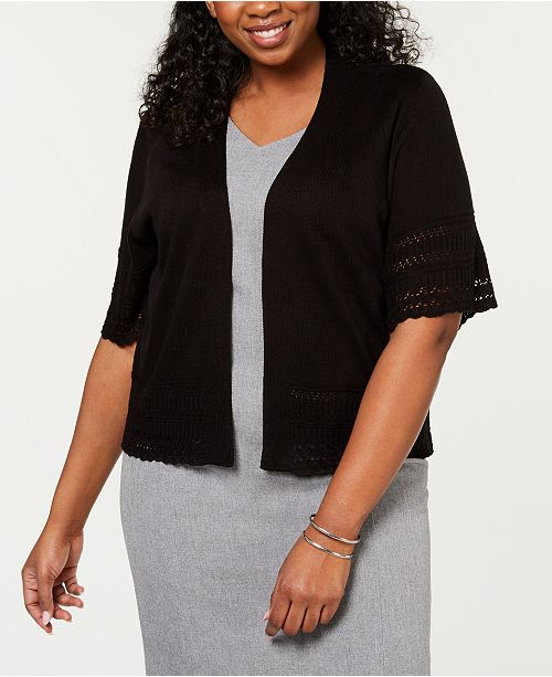 Robbie Bee Plus Size Pointelle-Knit Cardigan