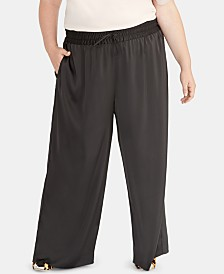 RACHEL Rachel Roy Plus Size Pull-On Satin Pants