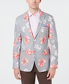 Tallia Men's Slim-Fit Striped Floral-Print Sport Coat
