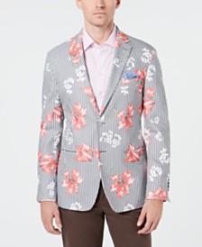 Tallia Men's Slim-Fit Striped Floral-Print Sport Coat