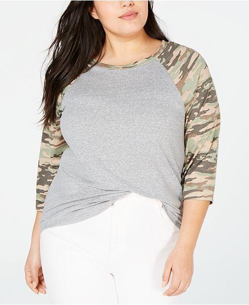 No Comment Trendy Plus Size Camo Raglan Top