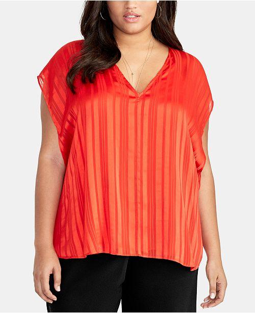 RACHEL Rachel Roy Trendy Plus Size May Cape Striped Top