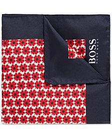 BOSS Men's Floral-Print Silk Pocket Square