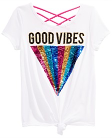 Beautees Big Girls Good Vibes Reversible Sequin Top
