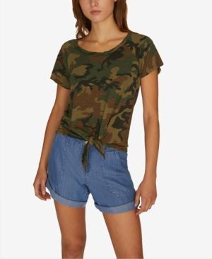 Sanctuary T-shirts LOU PRINTED TIE-FRONT T-SHIRT