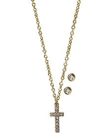 Kitsch Gold-Tone Crystal Cross Pendant Necklace & Stud Earrings Box Set