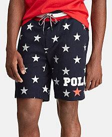 Polo Ralph Lauren Men's Star-Print Double-Knit Americana Shorts, Created for Macy's