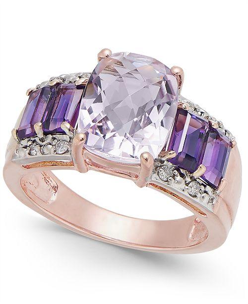 Macy's Multi-Gemstone (4 ct. t.w.) & Diamond Accent Statement Ring in 10k Rose Gold