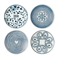 Crafted by Royal Doulton Blue Love Plate, Set of 4