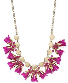 "I.N.C. Gold-Tone Shaky Bead & Flower Statement Necklace, 17"" + 3"" extender, Created for Macy's"