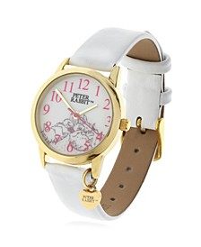 Children's Sleeping Bunnies Gold Steel Case and White Leather Watch 28mm